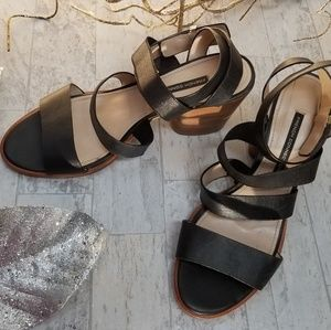 French Connection Ciara Black Wrap Strap Sandal-11